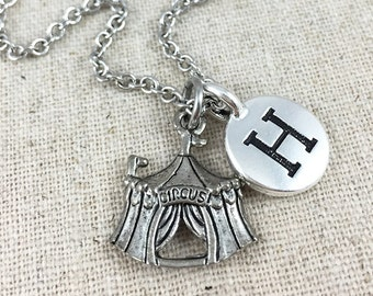 Silver Circus Tent Charm Necklace, Personalized With An Initial Charm, Circus Necklace, Circus Tent Jewelry