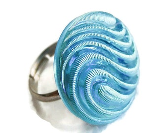 Light Blue Iridescent Button Ring, Swirl Ring, Adjustable Ring,