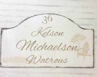 vacation house beach sign,  address house number, rustic shore house decor, custom personalized multi family beach cottage sign