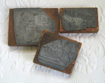Printers Block . lot of 3 . 3 lead print blocks . xmas printing blocks . vintage xmas printing blocks