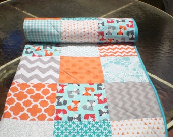 Baby quilt,Fox baby quilt,baby boy bedding,baby girl quilt,rustic,woodland,toddler,crib,fox,orange,grey,teal,aqua,chevron-Little Foxes