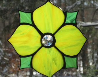 Stained Glass Suncatcher - Victorian Flower in Yellow with Green Points