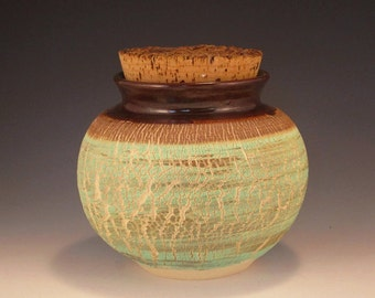 Pottery Vase - Sodium Silicate Crackle in Green and Brown with Cork Top