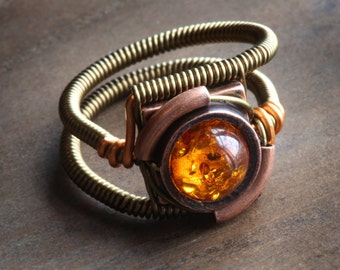 Amber ring, Steampunk Jewelry - Ring -  Lab created Amber