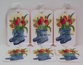 Special Order for Renee ...Rain boots and tulips tags...4 Sets 6 tags...hand stamped...watercolored tags...reverse side soft blue...blank!