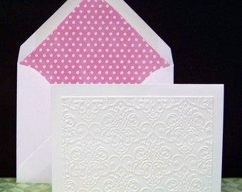Set of Six Embossed Front Note Cards..Lined Envelopes...Rose color Dot Liner standard A2 Envelope...Beautiful envelope glue on flap!