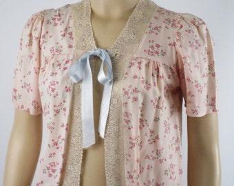 SALE 1950s Pink Rayon Floral Bedjacket by Miss Rosamonde Sz XS