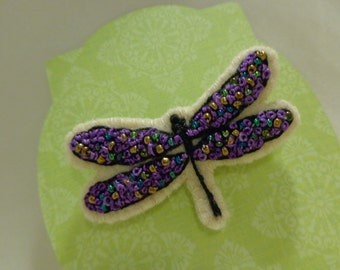 Handmade French Knotted Dragonfly Beads Brooch Pin Embroidery
