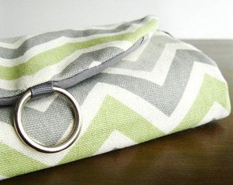 Jewelry Travel Organizer. Travel Gift Women. Chevron Green Grey Jewelry Organizer. Womans Overnight Bag. Traveler Gifts. Stud Earring Holder