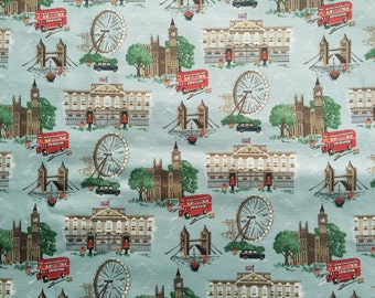 4167 - Cath Kidston London (Light Blue) Cotton Canvas Fabric - 57 Inch (Width) x 1/2 Yard (Length)