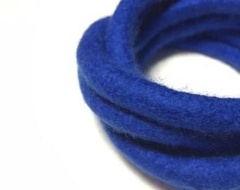 Royal Felted Bracelet Blue Modern Fiber Art Yoga Twisted Felt Collection