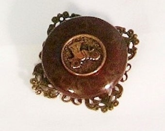 Brooch, button, antique auto, vintage button,filigree, donut bead, F, jewelry