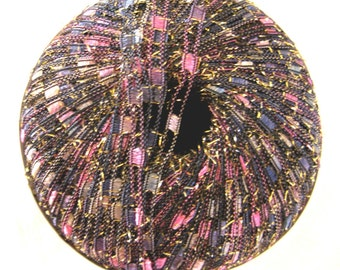 BLUEBERRY PARFAIT, Metallic Glitter ladder ribbon yarn, fuchia, blue, mauve, grey sparkle yarn 72