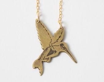 Hummingbird Necklace - Bird Necklace - Audubon Gift - Hummingbird Skeleton - Anatomy Necklace - Bird Jewelry - Science Jewelry - Biology