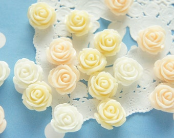 12 pcs Tiny Lovely Color Rose Cabochon (13mm) 3C FL287