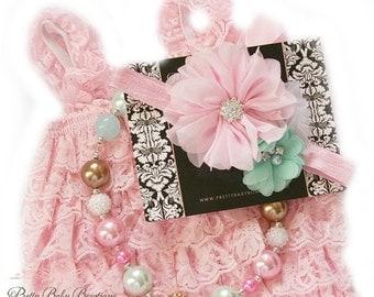 SALE Baby Romper Headband Necklace SET,  Pink and Mint Baby Lace Romper And Baby Headband, Baby Outfit, Baby Photo Prop