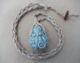 Ceramic Octopus Vessel Bottle Hemp Necklace - Natural Bohemian