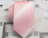 Mens Ties. Necktie Pink Ivory Narrow Mens Necktie