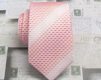 Mens Ties. Necktie Pink Ivory Narrow Mens Necktie