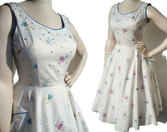 Vintage 50s Dress Rockabilly Novelty Print & Rhinestone Circle Skirt S / M