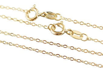 Gold Necklace,Gold Chain,Gold Plated,Vermeil,Sterling silver Chain,Necklace-Cable Flat Oval-Finished Necklace-18 inches(1 pc) SKU: 601043-VM