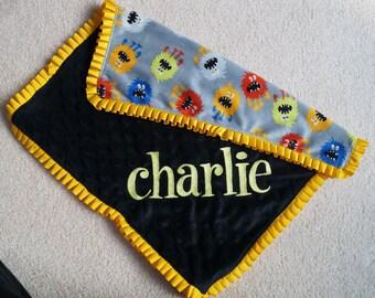 PERSONALIZED Baby Blanket, Monster Blanket, Security Blanket, Lovey, Lovie,  Soft Minky Blanket, Satin Trimmed Blanket, Baby Gift, Toddler