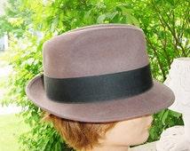 Vintage Fedora 7 3/8 Mens Hat Bollman Gray Brown Dynafelt Average Brim