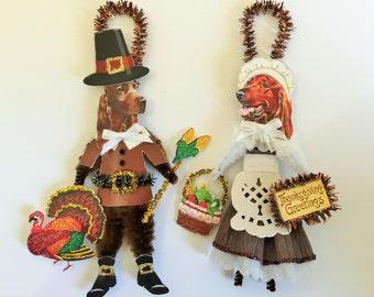 Irish Setter THANKSGIVING PILGRIM ornaments Dog ornaments vintage style chenille ORNAMENTS set of 2