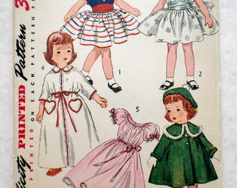 Vintage 1950s Doll Clothes Pattern Simplicity 4128 23 Inch Doll Clothing Pattern Toni Size Doll Factory Folded Genuine Vintage Pattern