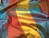 Red Blue & Orange CHECK Silk DUPIONI Fabric - fat 1/4