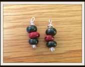 Green and Red Goldstone earrings