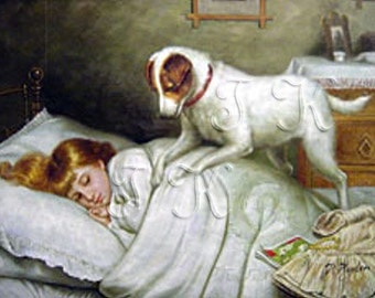 LITTLE SLEEPING GIRL, Jack Russel Dog Trying to Wake Her Up, Vintage.  Art Print.  4x6, 5x7 and 8x10 Inches