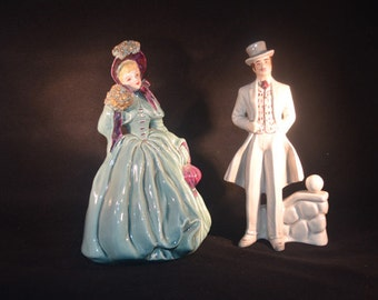 Pair Vintage Hand Painted Florence Ceramics Rhett and Scarlett Figurines Blonde Hair Blue Clothing