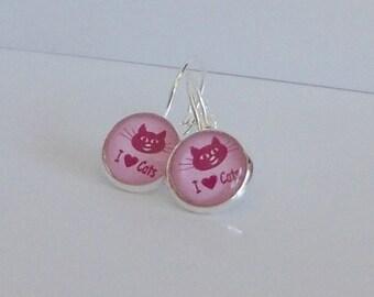 Ohrringe Cabochon Katze pink silber
