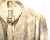 eco dyed silk shirt or blouse altered couture plus size