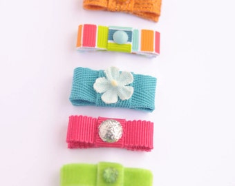 newborn baby girls bitty hair clips collection - summer brights snap clips set, orange blue coral green stripes baby hair clips