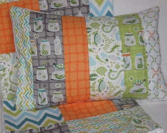 "Backyard Baby Quilted Pillow Cover 12""x16"" - Bug Jars, Lightening Bugs, Reptiles, Turtles, Green, Gray, Orange, Nursery Decor- MADE TO ORDER"