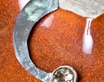 Fine Silver .999 Necklace Graceful Curve Smoky Quartz Gemstone Prototype Pendant