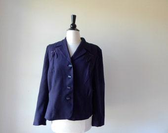 Vintage 1940s Jacket - Navy Blue 40s Blazer