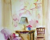 ORIGINAL Watercolor Painting, Chinoiserie, Ginger Jar, Pagoda, ART, Furniture, Faux Bamboo Chair, Chinoiserie Wallpaper, Bamboo Furniture