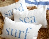 Beach Pillow Sea Sand and Surf Set of Three Throw Pillows Choose Pillow Size Letter Color Beach Pillow Covers Coastal Decor Beach