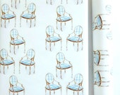 Wrapping Paper French Chairs Designer Gift Wrap Roll Gift Wrapping Furniture Blue and White Gift Wrapping Traditional All Occasion