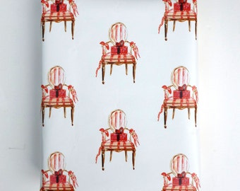 Christmas Wrapping Paper, Gift Wrap, Wrapping Paper, French Chair, Christmas, Festive Holiday Red
