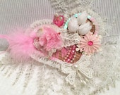 Package Topper, Gift Tag, Shabby Chic, Christmas Tree Ornament, Door Knob Decor, Valentine, Heart Stickpin, Craft Embellishment