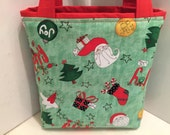 Santa Claus, Gift Tote Bag, Gift Wrap, Toy Tote, Wrapping Paper, Birthday, Winter Holiday, Christmas Tree, Stocking