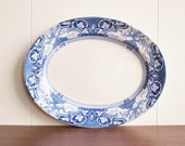 Antique blue and white transferware platter or tray, JHW and Sons, Hanley England