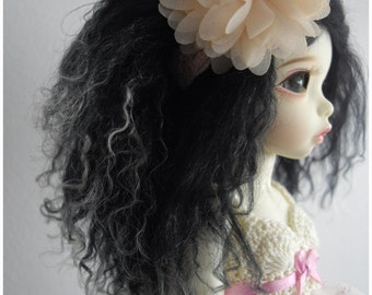 Black with white tips tibetan mohair wig size 6/6,5 for unoa, narae, littlefee
