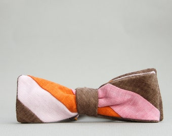 fat stripe bow tie in petal pink, bubblegum pink, orange, & brown  //  self tie bow tie  //  color blocked bow tie