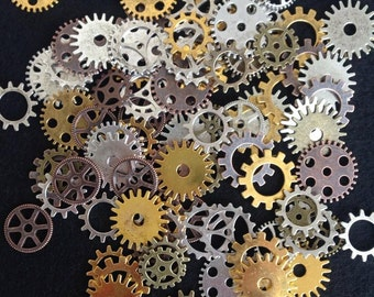 50 Pieces Steam Punk Gears Cog Parts for Altered Art Charms Clock Connectors Pendants Lead Free Mixed Color Bracelet Watch 19 - 25mm