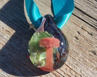 Glass Pendant Bead with Red Mushroom